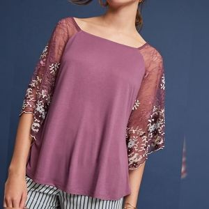 Anthropologie | Purple Sparkly Sleeve Blouse